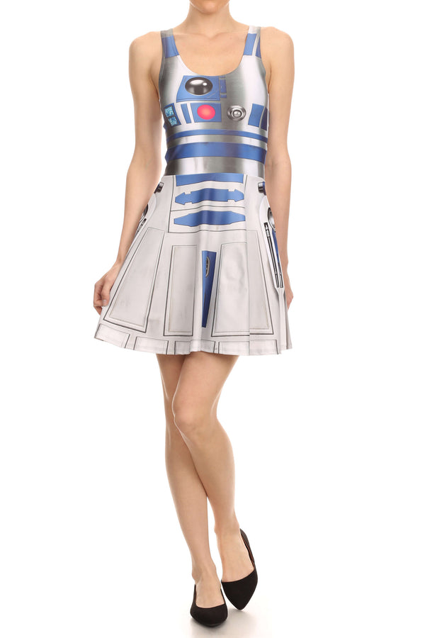 Blue Robot Skater Dress - POPRAGEOUS  - 4