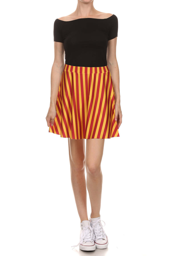 Game Day Classic Skater Skirt - Red & Gold - POPRAGEOUS  - 1