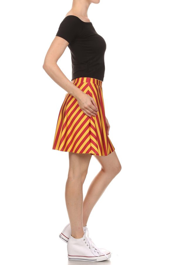 Game Day Classic Skater Skirt - Red & Gold - POPRAGEOUS  - 3