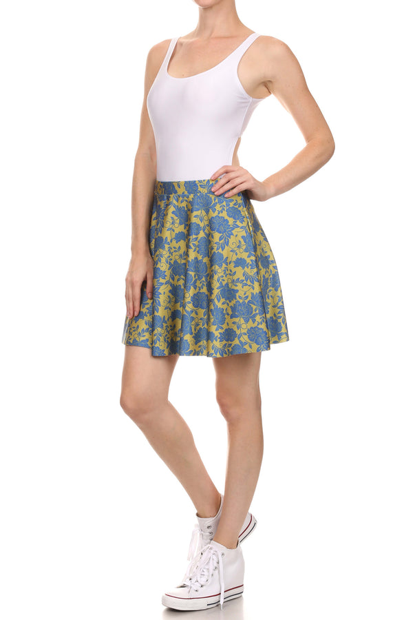Spring Formal Skater Skirt - Blue & Yellow - POPRAGEOUS  - 2