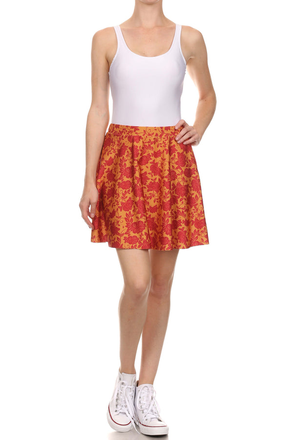 Spring Formal Skater Skirt - Red & Gold - POPRAGEOUS  - 1