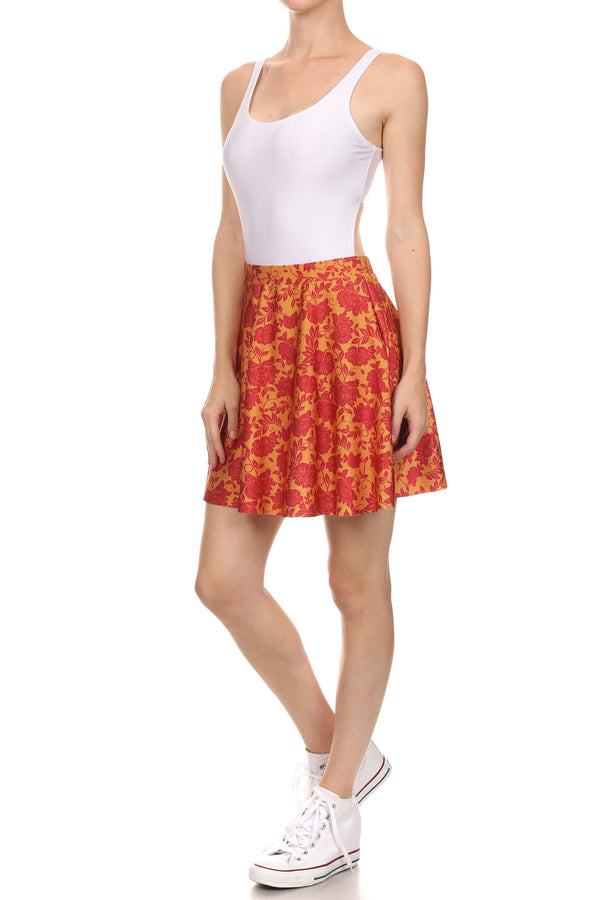 Spring Formal Skater Skirt - Red & Gold - POPRAGEOUS  - 2