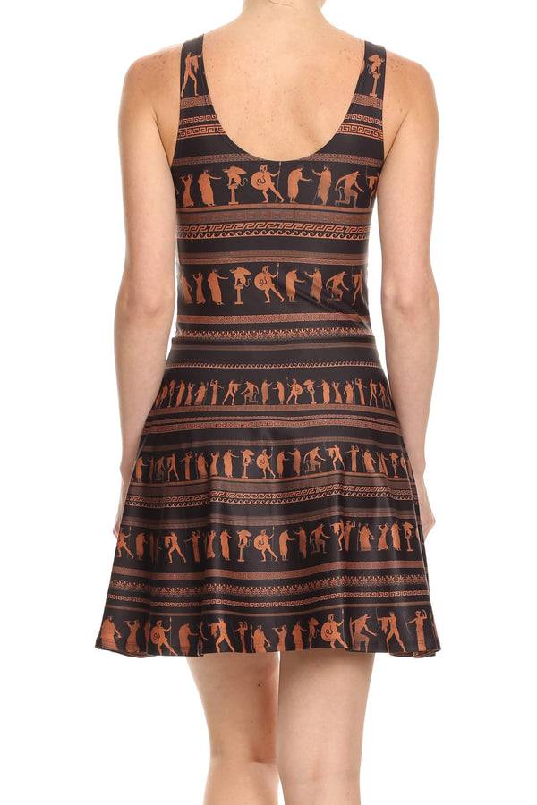 Greek Pottery Skater Dress - POPRAGEOUS  - 4