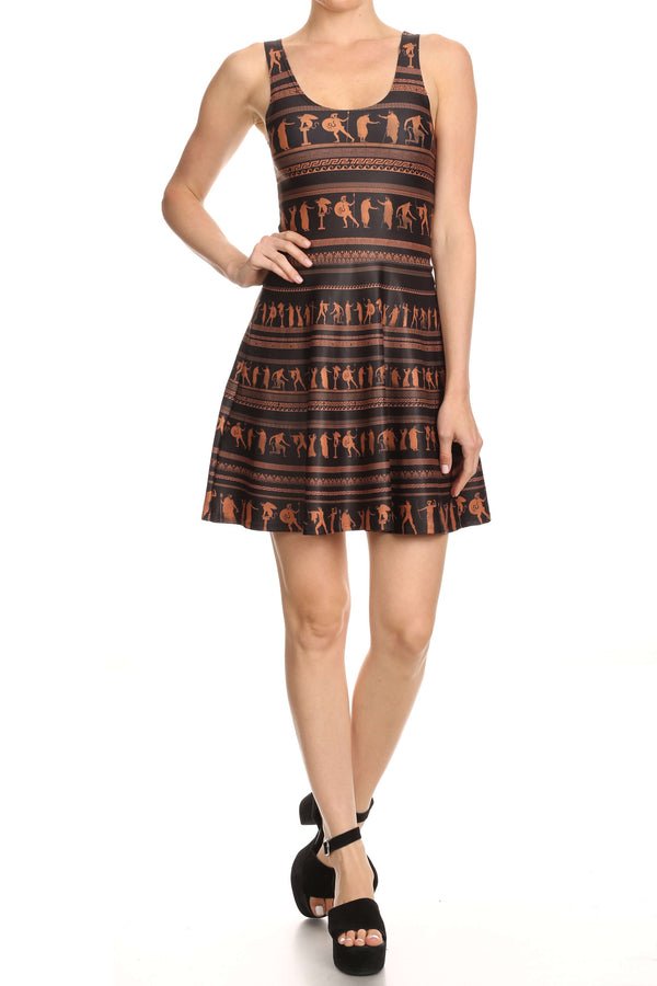 Greek Pottery Skater Dress - POPRAGEOUS  - 3