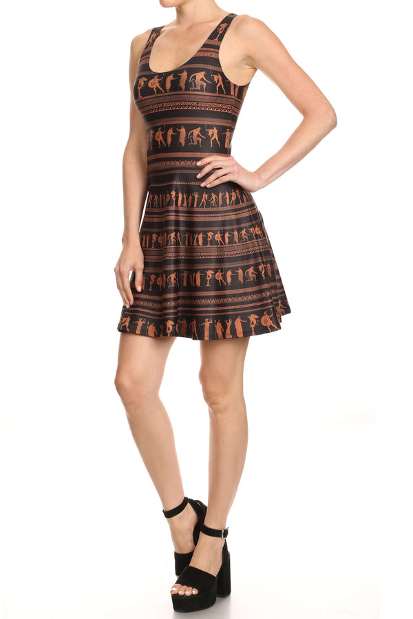 Greek Pottery Skater Dress - POPRAGEOUS  - 2