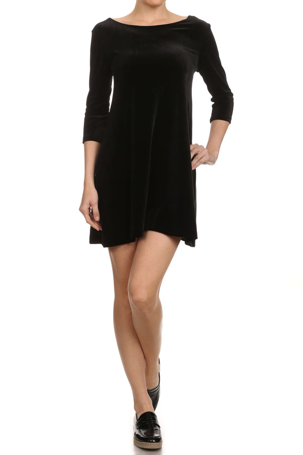 Velvet Shift Dress - Black - POPRAGEOUS  - 4