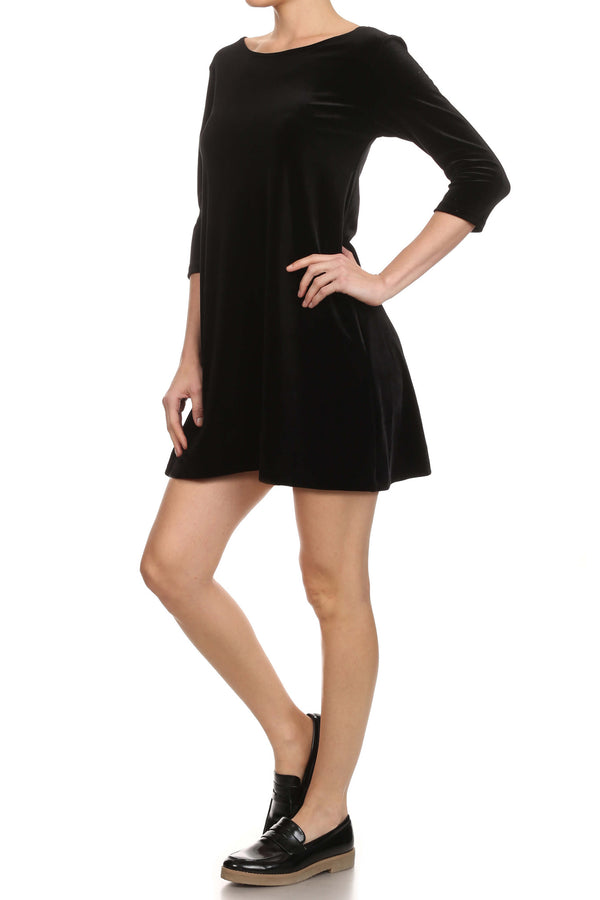 Velvet Shift Dress - Black - POPRAGEOUS  - 2