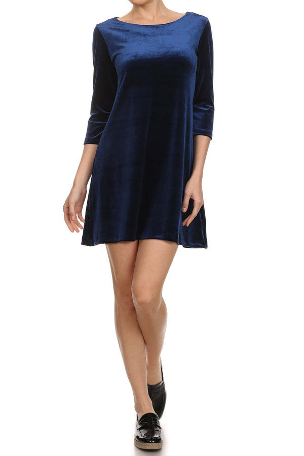 Velvet Shift Dress - Navy - POPRAGEOUS  - 2