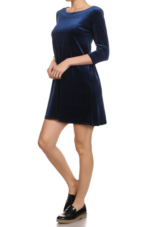 Velvet Shift Dress - Navy - POPRAGEOUS  - 3