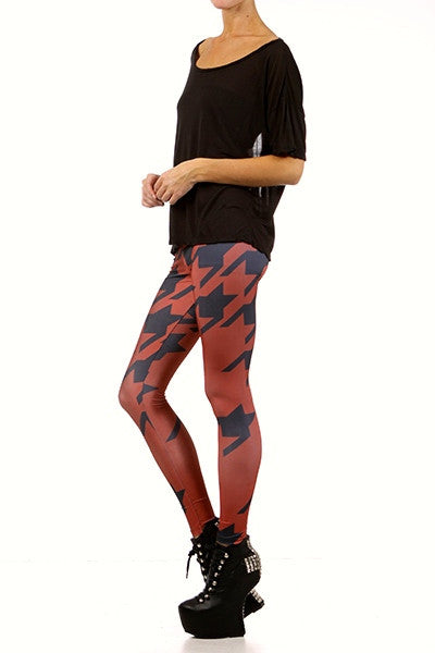Oxblood Houndstooth Leggings - POPRAGEOUS  - 2