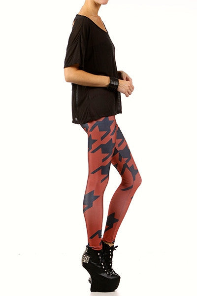 Oxblood Houndstooth Leggings - POPRAGEOUS  - 3