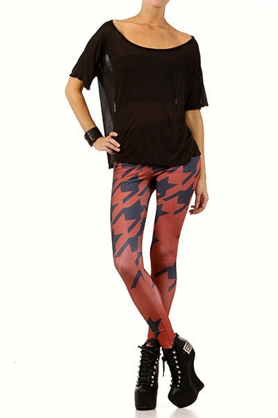 Oxblood Houndstooth Leggings - POPRAGEOUS  - 1