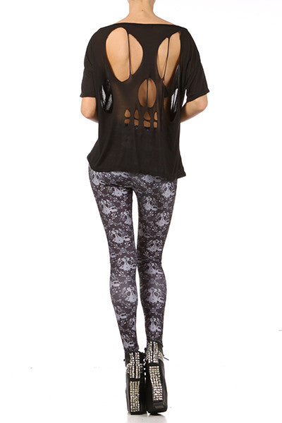 Gasmask Damask Leggings - Black - POPRAGEOUS  - 4