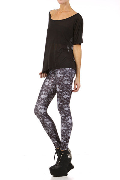 Gasmask Damask Leggings - Black - POPRAGEOUS  - 2
