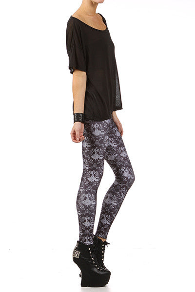Gasmask Damask Leggings - Black - POPRAGEOUS  - 3