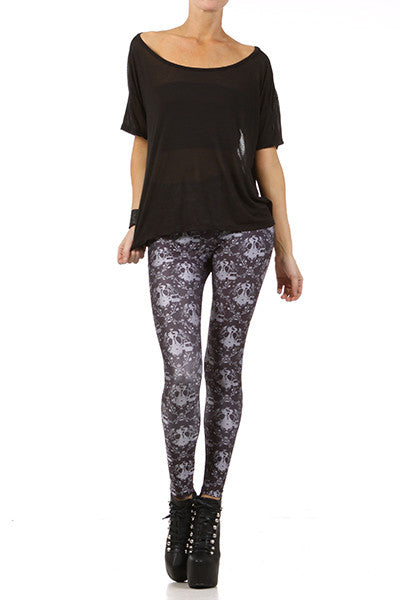Gasmask Damask Leggings - Black - POPRAGEOUS  - 1