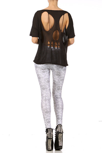 Gasmask Damask Leggings - White - POPRAGEOUS  - 4