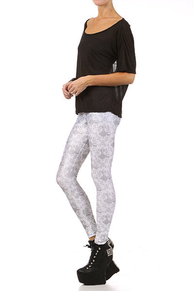 Gasmask Damask Leggings - White - POPRAGEOUS  - 2