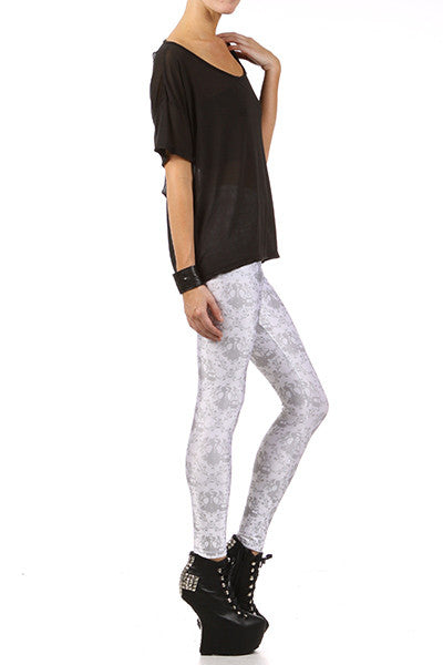 Gasmask Damask Leggings - White - POPRAGEOUS  - 3