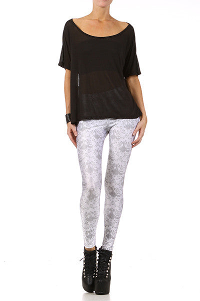 Gasmask Damask Leggings - White - POPRAGEOUS  - 1