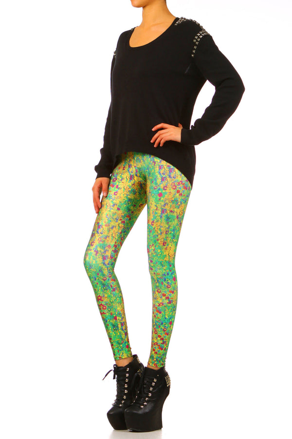 Klimt Flower Leggings - XXS - POPRAGEOUS  - 2