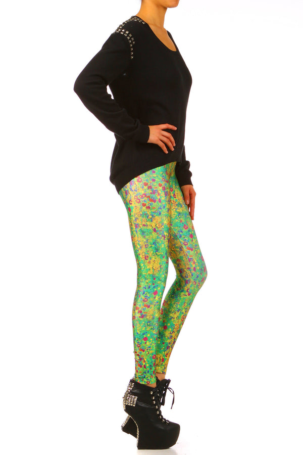 Klimt Flower Leggings - XXS - POPRAGEOUS  - 3