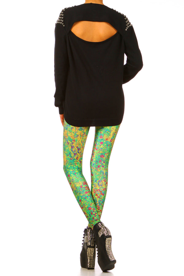 Klimt Flower Leggings - XXS - POPRAGEOUS  - 4
