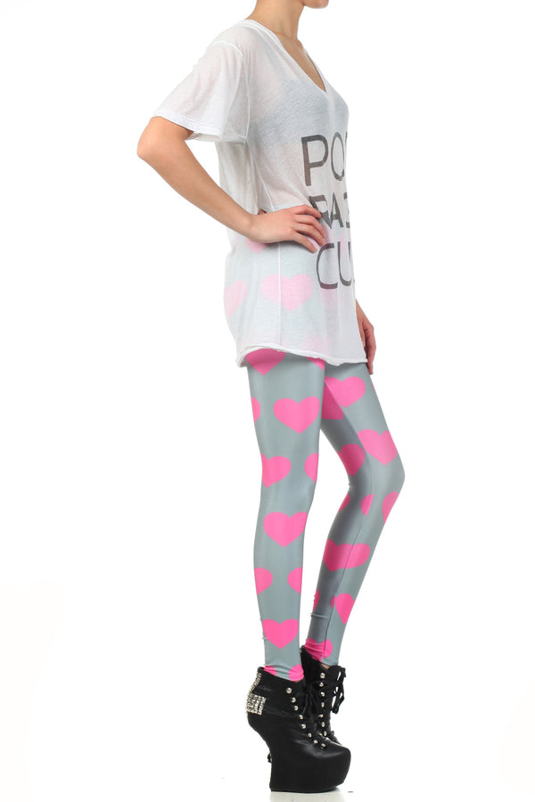 Pink Heart Leggings - POPRAGEOUS  - 3