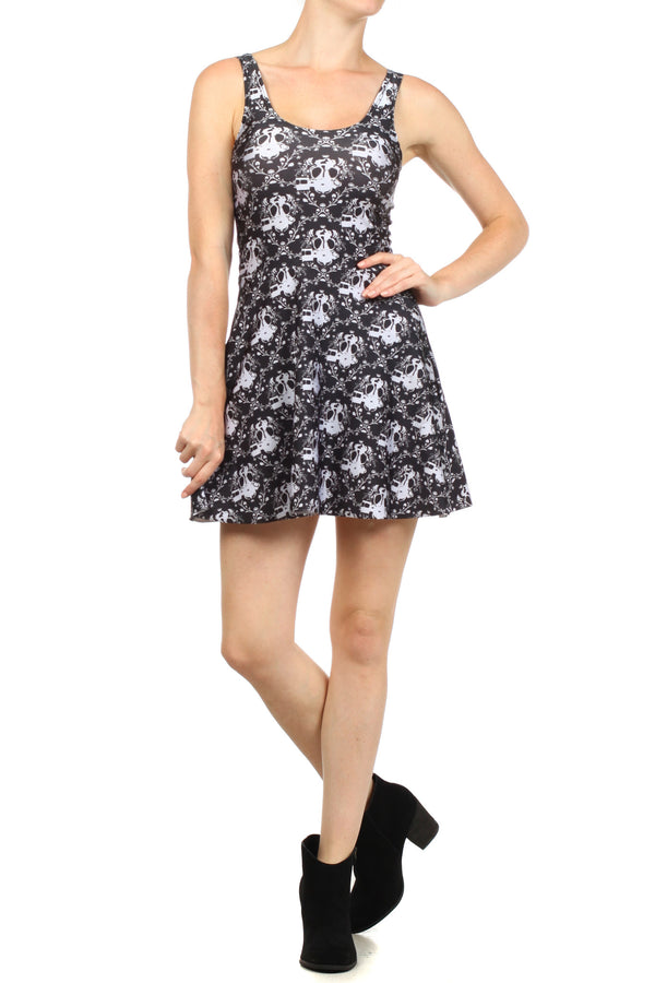 Gasmask Damask Skater Dress - POPRAGEOUS  - 1