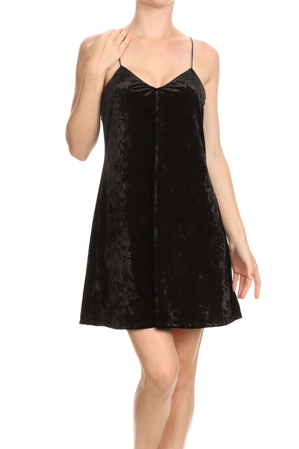 Crushed Velvet Slip Dress - Noir - POPRAGEOUS  - 1