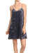 Crushed Velvet Slip Dress - Midnight Blue