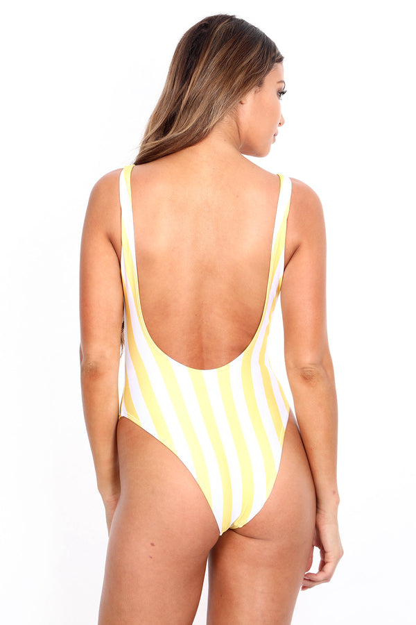 Yellow Striped 'The Pam' Onesie Swim