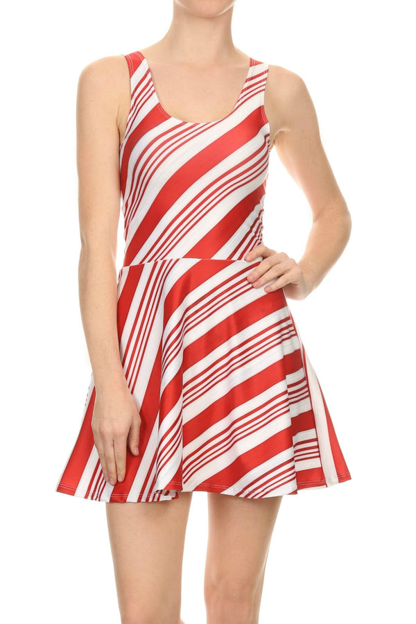 Candy Cane Skater Dress - POPRAGEOUS  - 1