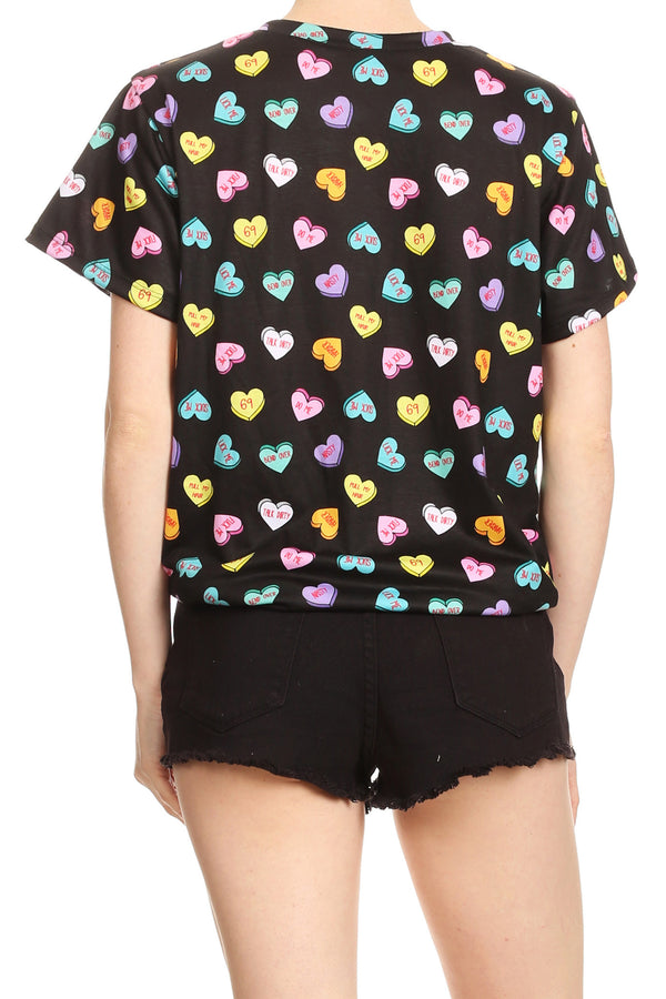 Candy Hearts Relaxed Tee - Black - POPRAGEOUS  - 4