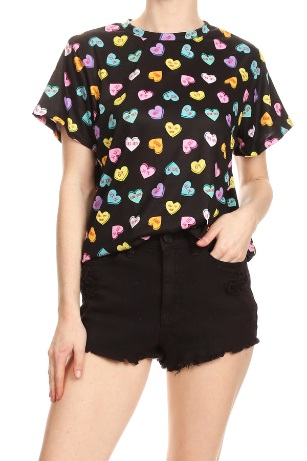 Candy Hearts Relaxed Tee - Black - POPRAGEOUS  - 1