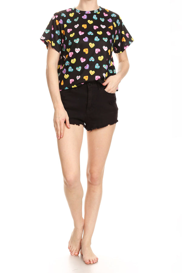 Candy Hearts Relaxed Tee - Black - POPRAGEOUS  - 5