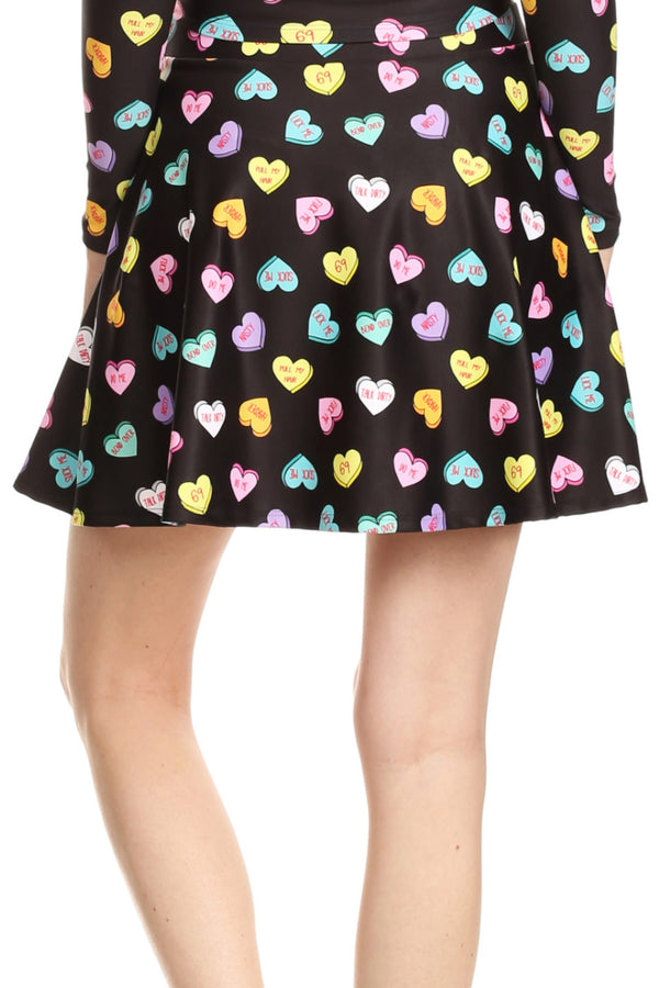 Candy Hearts Skater Skirt - POPRAGEOUS  - 5