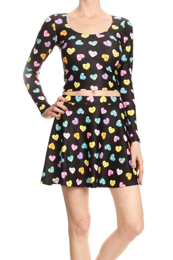 Candy Hearts Skater Skirt - POPRAGEOUS  - 3