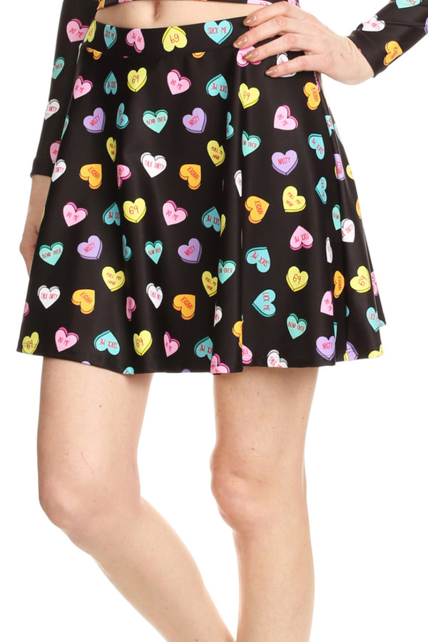Candy Hearts Skater Skirt - POPRAGEOUS  - 1