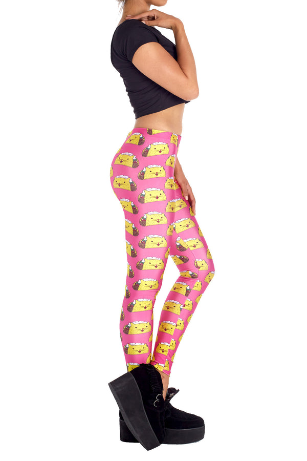 Pink Taco Cat Leggings - POPRAGEOUS  - 3