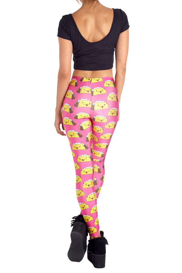 Pink Taco Cat Leggings - POPRAGEOUS  - 4