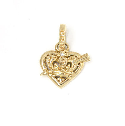 SMALL IMMACULATE HEART PENDANT w/ CUPID ARROW w/ 1 DIAMOND