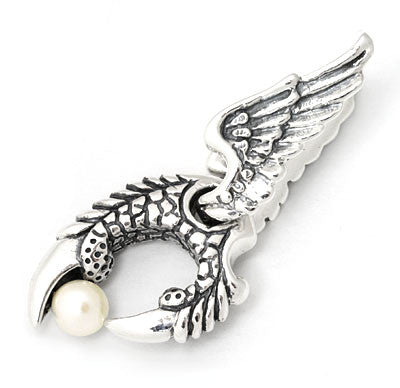 WINGED TALON PENDANT w/ PEARL