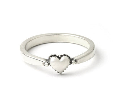 TINY HEART BAND RING