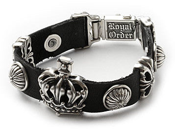 CITADEL CROWN ON LEATHER BRACELET