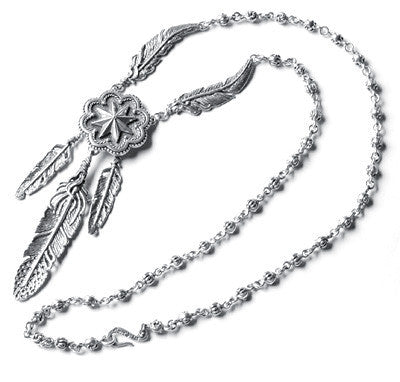 NORTHERN STAR CONCHO NECKLACE w/ 3 FEATHERS w/ CROWN & FLEUR DE LIS CHAIN