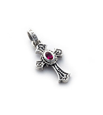 SMALL CARVED CROSS PENDANT w/ CZ