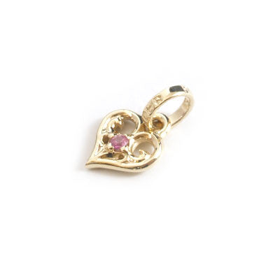 SMALL ALLEGRA HEART PENDANT w/ RUBY OR SAPPHIRE