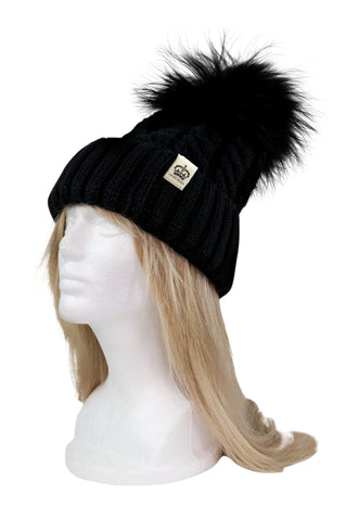 ROYAL ORDER BLACK KNIT BEANIE w/ RACCOON FUR POMPOM