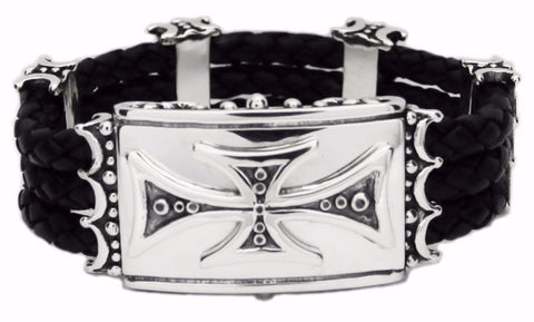 TRIPLE BAND BRACELET w/ CROSS BOX CLIP